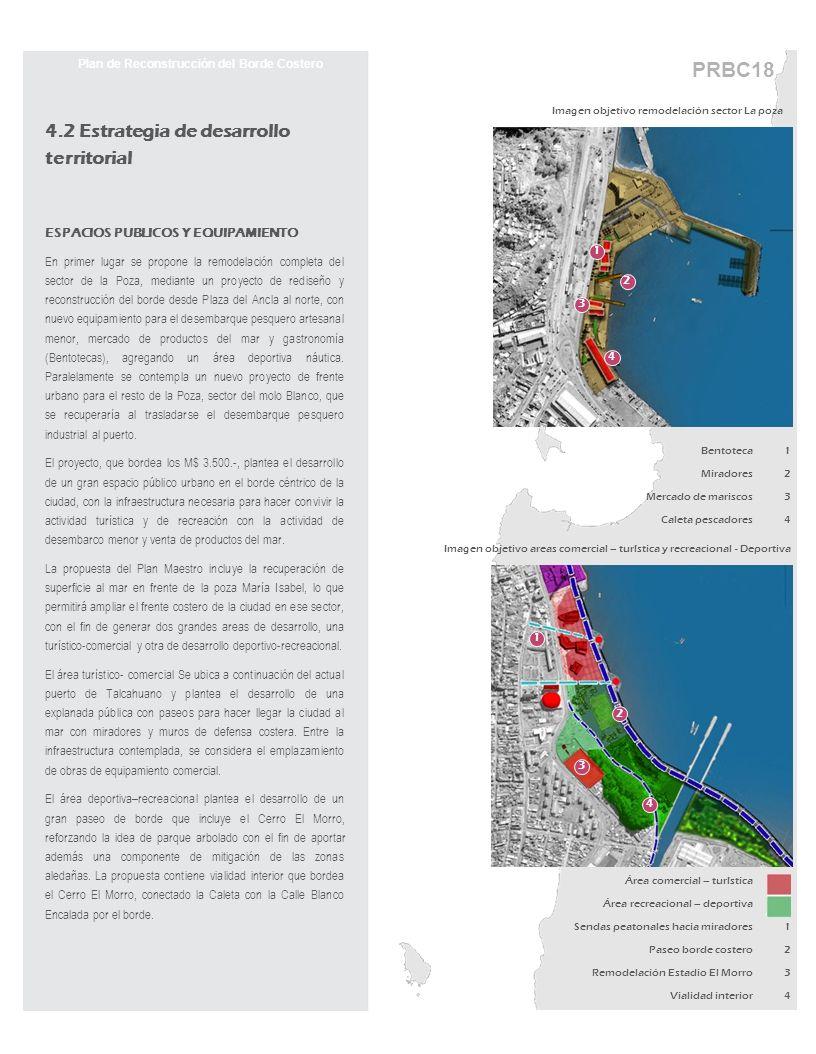 PRBC18 Plan de Reconstrucción del Borde Costero 4.2 Estrategia de desarrollo territorial ESPACIOS PUBLICOS Y EQUIPAMIENTO En primer lugar se propone l