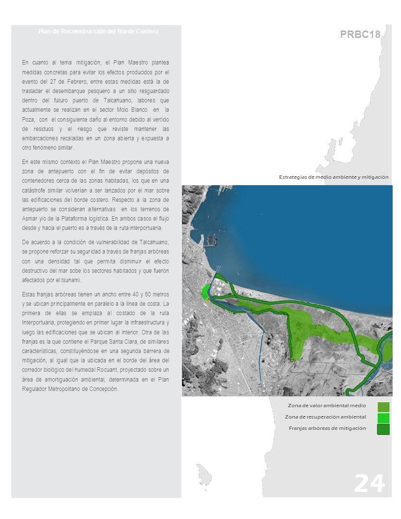 PRBC18 Plan de Reconstrucción del Borde Costero En cuanto al tema mitigación, el Plan Maestro plantea medidas concretas para evitar los efectos producidos por el evento del 27 de Febrero, entre estas medidas está la de trasladar el desembarque pesquero a un sitio resguardado dentro del futuro puerto de Talcahuano, labores que actualmente se realizan en el sector Molo Blanco en la Poza, con el consiguiente daño al entorno debido al vertido de residuos y el riesgo que reviste mantener las embarcaciones recaladas en un zona abierta y expuesta a otro fenómeno similar.