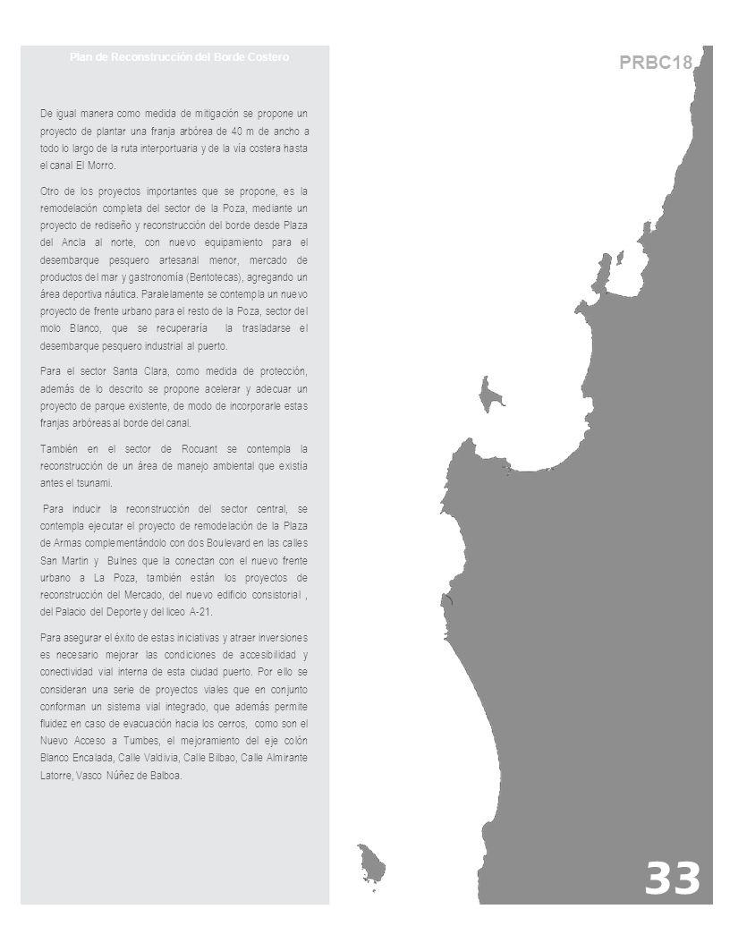PRBC18 Plan de Reconstrucción del Borde Costero De igual manera como medida de mitigación se propone un proyecto de plantar una franja arbórea de 40 m de ancho a todo lo largo de la ruta interportuaria y de la vía costera hasta el canal El Morro.