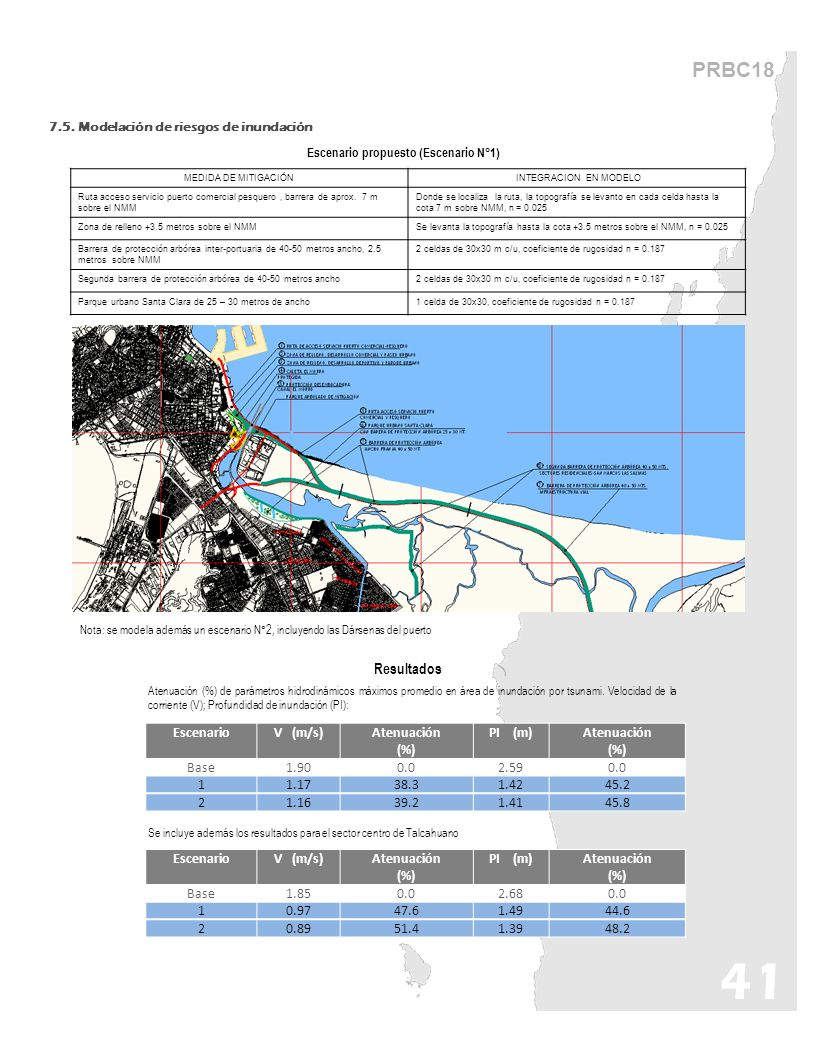 PRBC18 7.5. Modelación de riesgos de inundación 41 MEDIDA DE MITIGACIÓN INTEGRACION EN MODELO Ruta acceso servicio puerto comercial pesquero, barrera