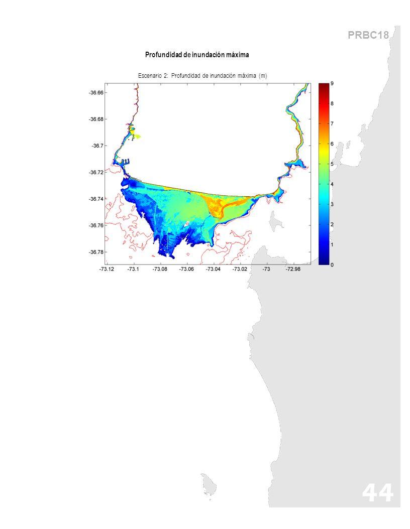 PRBC18 44 Profundidad de inundación máxima Escenario 2: Profundidad de inundación máxima (m)