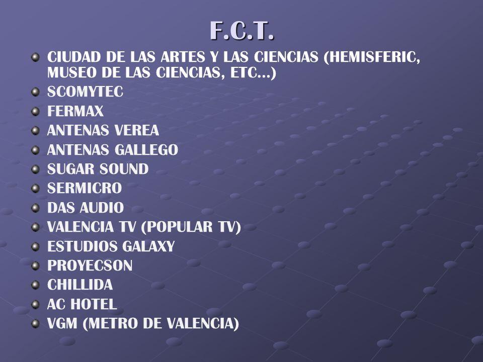 F.C.T. CIUDAD DE LAS ARTES Y LAS CIENCIAS (HEMISFERIC, MUSEO DE LAS CIENCIAS, ETC…) SCOMYTEC FERMAX ANTENAS VEREA ANTENAS GALLEGO SUGAR SOUND SERMICRO