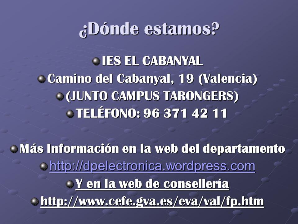 ¿Dónde estamos? IES EL CABANYAL Camino del Cabanyal, 19 (Valencia) (JUNTO CAMPUS TARONGERS) TELÉFONO: 96 371 42 11 Más Información en la web del depar