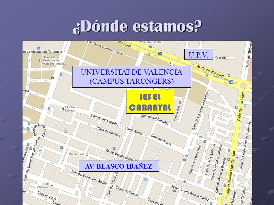 ¿Dónde estamos? IES EL CABANYAL U.P.V. UNIVERSITAT DE VALÈNCIA (CAMPUS TARONGERS) AV. BLASCO IBÁÑEZ
