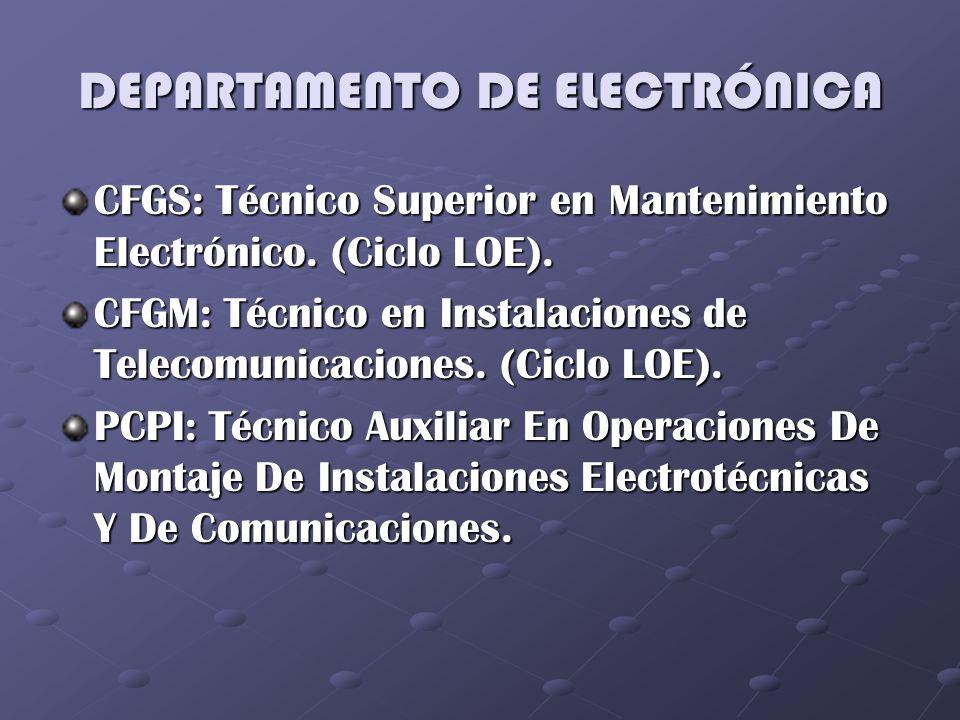 DEPARTAMENTO DE ELECTRÓNICA CFGS: Técnico Superior en Mantenimiento Electrónico. (Ciclo LOE). CFGM: Técnico en Instalaciones de Telecomunicaciones. (C