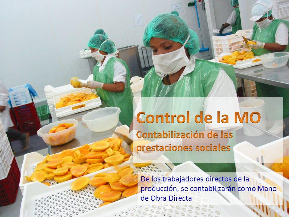De los trabajadores directos de la producción, se contabilizarán como Mano de Obra Directa