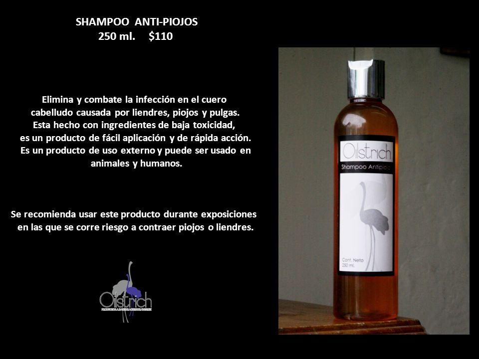SHAMPOO ANTI-PIOJOS 250 ml. $110 Elimina y combate la infección en el cuero cabelludo causada por liendres, piojos y pulgas. Esta hecho con ingredient