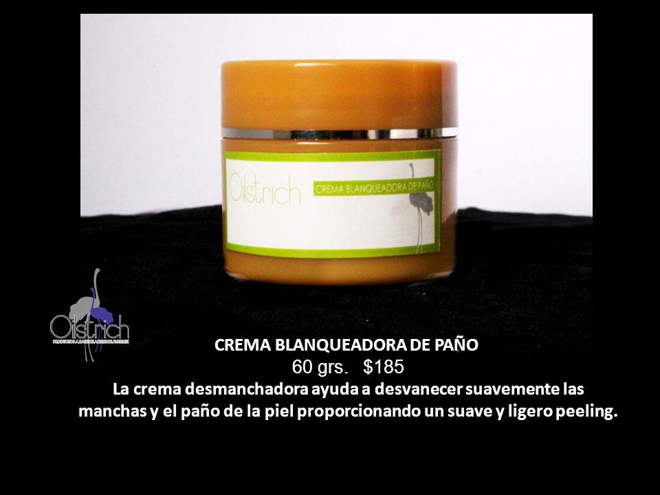 CREMA BLANQUEADORA DE PAÑO 60 grs. $185 La crema desmanchadora ayuda a desvanecer suavemente las manchas y el paño de la piel proporcionando un suave
