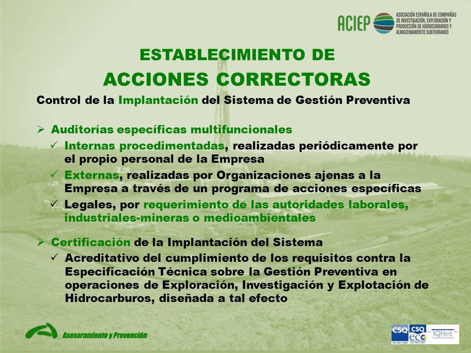 ESTABLECIMIENTO DE ACCIONES CORRECTORAS Auditorías específicas multifuncionales Internas procedimentadas, realizadas periódicamente por el propio pers