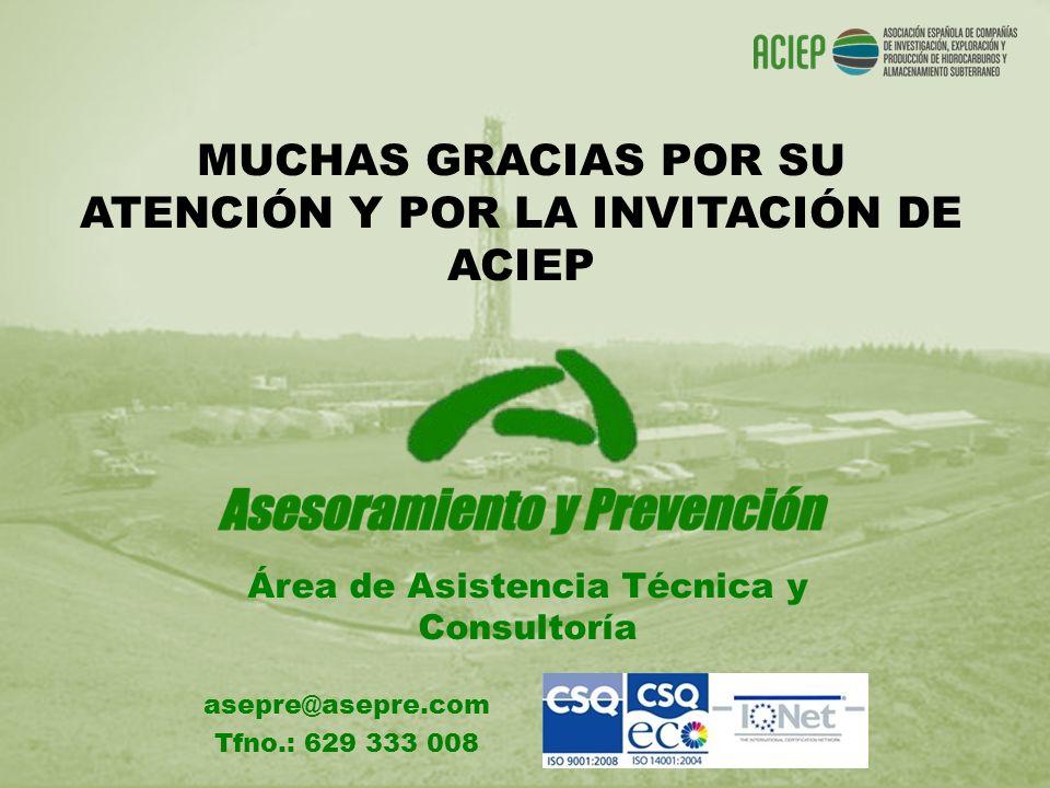 MUCHAS GRACIAS POR SU ATENCIÓN Y POR LA INVITACIÓN DE ACIEP Área de Asistencia Técnica y Consultoría asepre@asepre.com Tfno.: 629 333 008