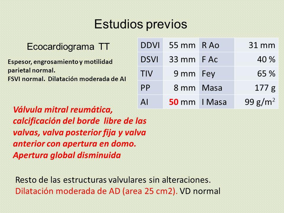 Ecocardiograma TT Estudios previos Resto de las estructuras valvulares sin alteraciones. Dilatación moderada de AD (area 25 cm2). VD normal DDVI55 mmR