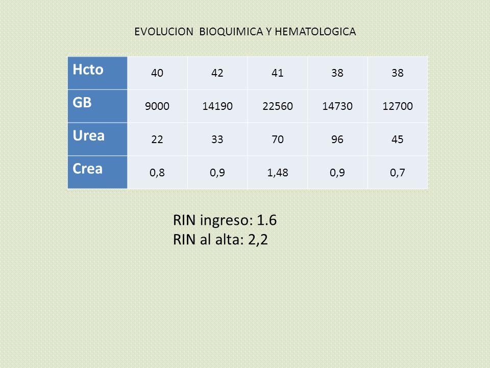Hcto 40424138 GB 900014190225601473012700 Urea 2233709645 Crea 0,80,91,480,90,7 EVOLUCION BIOQUIMICA Y HEMATOLOGICA RIN ingreso: 1.6 RIN al alta: 2,2