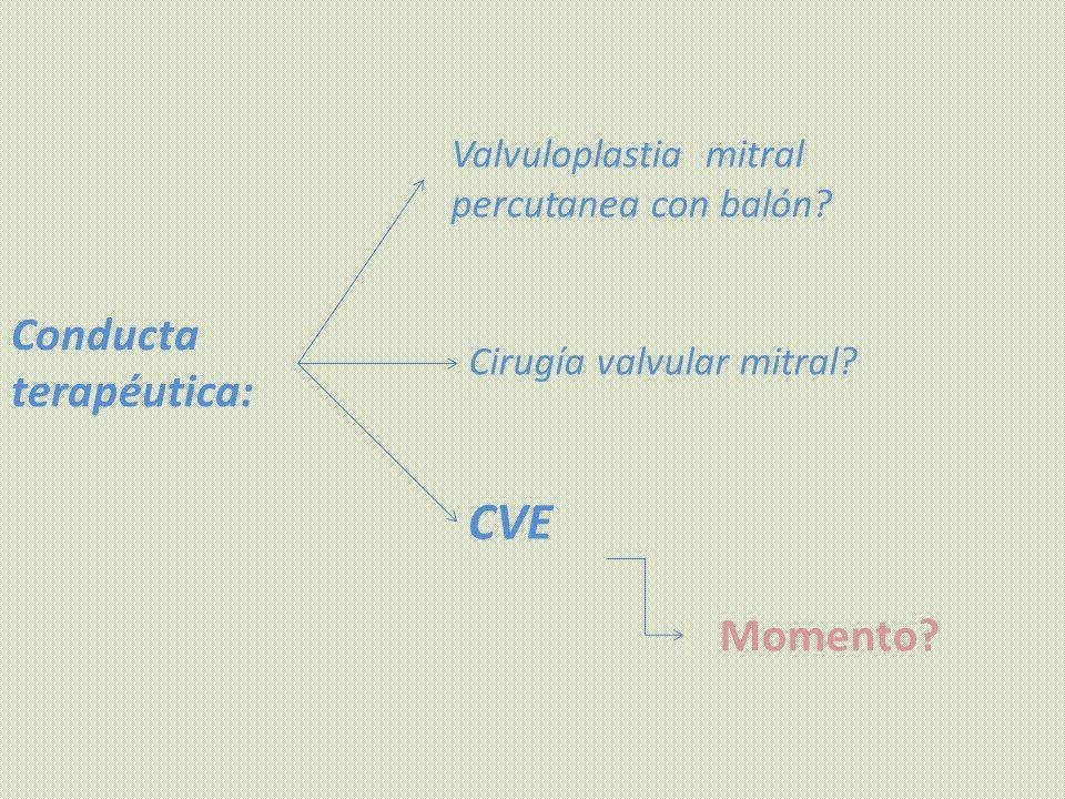 Conducta terapéutica: Momento? Valvuloplastia mitral percutanea con balón? Cirugía valvular mitral? CVE