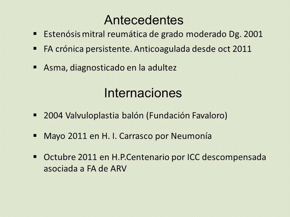 Medicación habitual Enalapril 20 mg/día Bisoprolol 5 mg/día Diltiazem 240 mg AP /12 hs Digoxina 0, 25 mVOg/día Furosemida 40 mg/día Acenocumarol 2 mg/día Salbutamol aerosol /12 hs