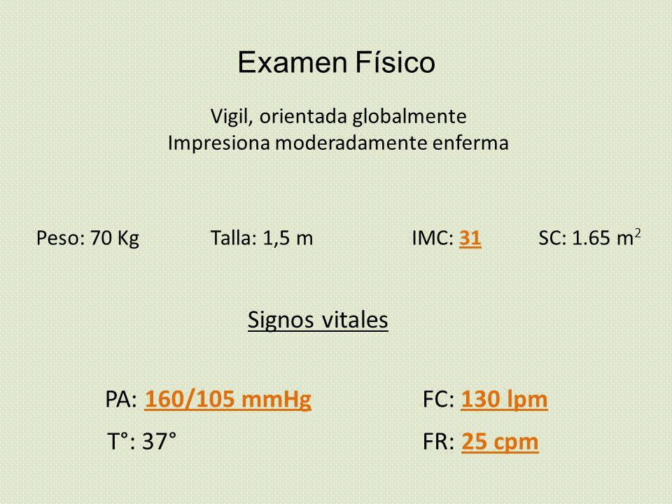 Examen Físico Vigil, orientada globalmente Impresiona moderadamente enferma Peso: 70 KgTalla: 1,5 mIMC: 31SC: 1.65 m 2 Signos vitales PA: 160/105 mmHg