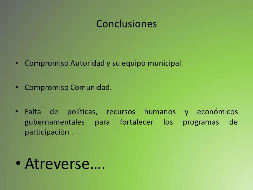 Conclusiones Compromiso Autoridad y su equipo municipal. Compromiso Comunidad. Falta de políticas, recursos humanos y económicos gubernamentales para