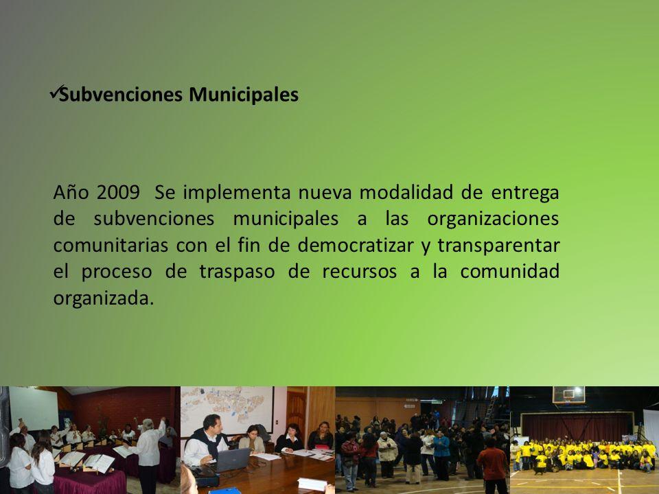 Año 2009 Se implementa nueva modalidad de entrega de subvenciones municipales a las organizaciones comunitarias con el fin de democratizar y transpare