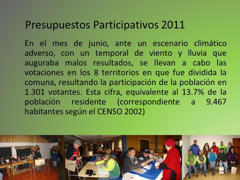Presupuestos Participativos 2011 En el mes de junio, ante un escenario climático adverso, con un temporal de viento y lluvia que auguraba malos result