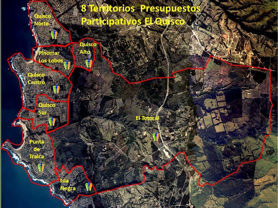 Quisco Norte Quisco Alto Quisco Sur Punta de Tralca Isla Negra El Totoral Pinomar Los Lobos Quisco Centro 8 Territorios Presupuestos Participativos El