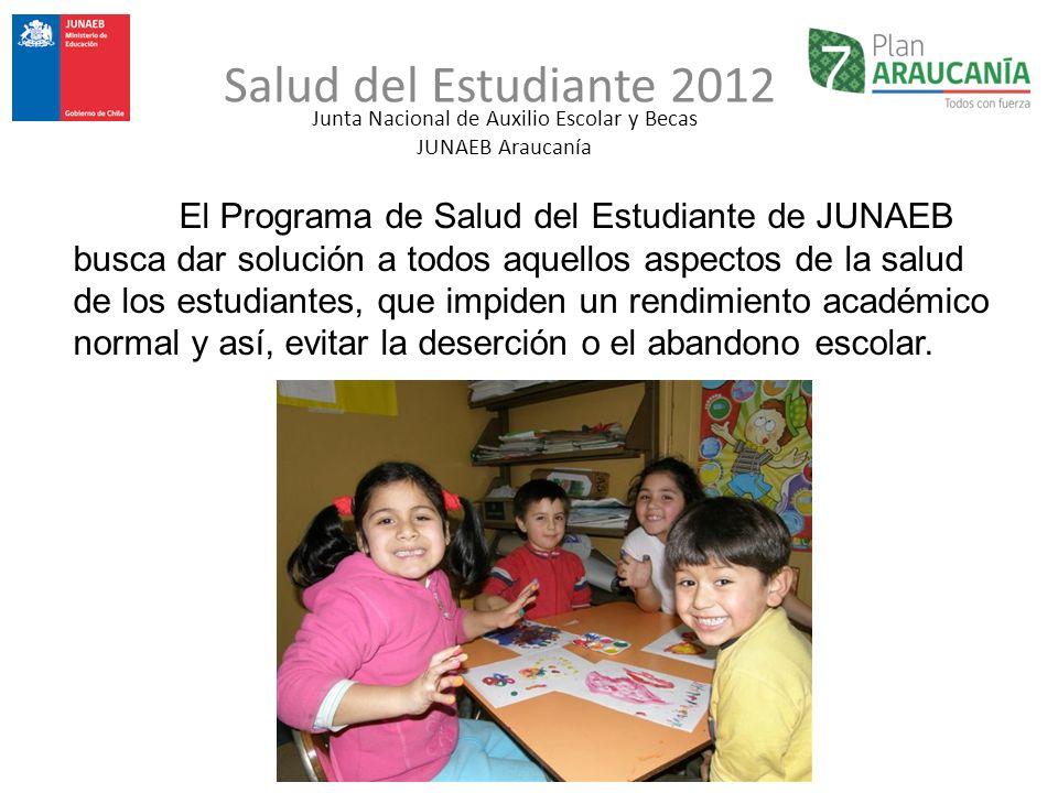 Junta Nacional de Auxilio Escolar y Becas JUNAEB Araucanía Salud del Estudiante 2012 El Programa de Salud del Estudiante de JUNAEB busca dar solución