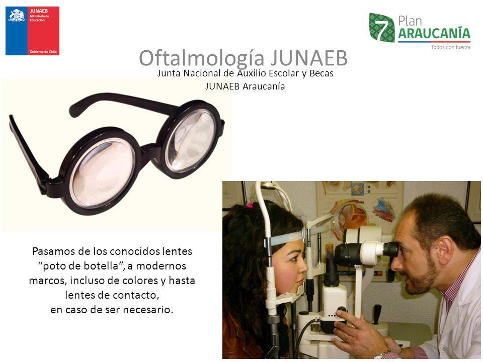 Junta Nacional de Auxilio Escolar y Becas JUNAEB Araucanía Oftalmología JUNAEB Pasamos de los conocidos lentes poto de botella, a modernos marcos, inc