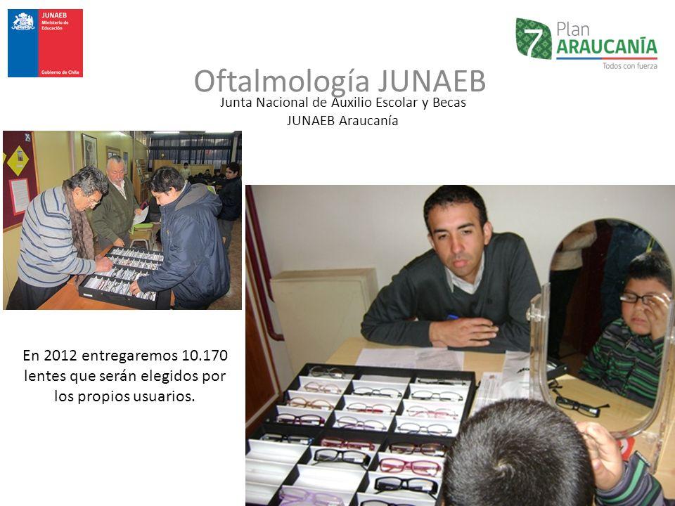 Junta Nacional de Auxilio Escolar y Becas JUNAEB Araucanía Oftalmología JUNAEB En 2012 entregaremos 10.170 lentes que serán elegidos por los propios u
