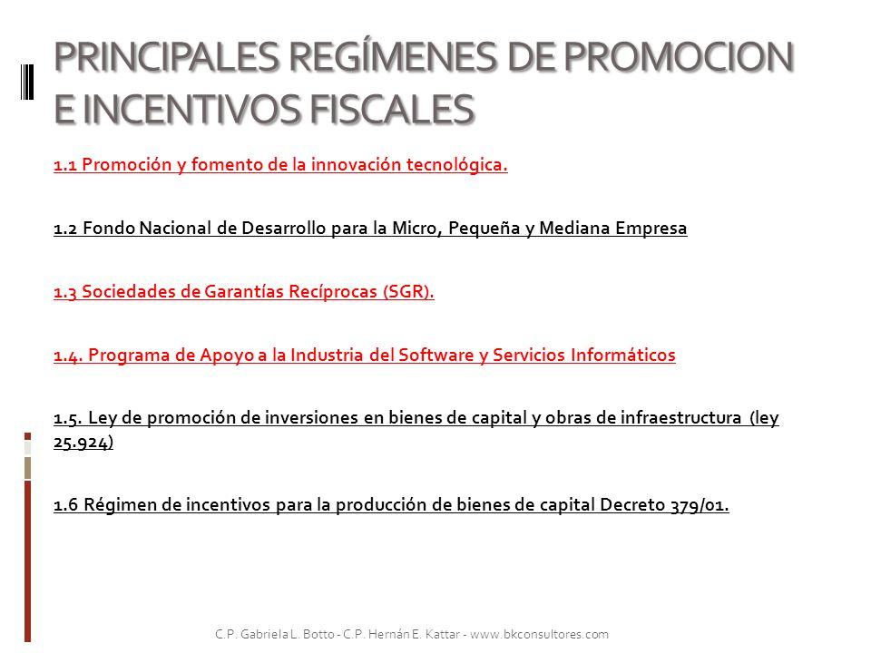 PRINCIPALES REGÍMENES DE PROMOCION E INCENTIVOS FISCALES 1.1 Promoción y fomento de la innovación tecnológica. 1.2 Fondo Nacional de Desarrollo para l