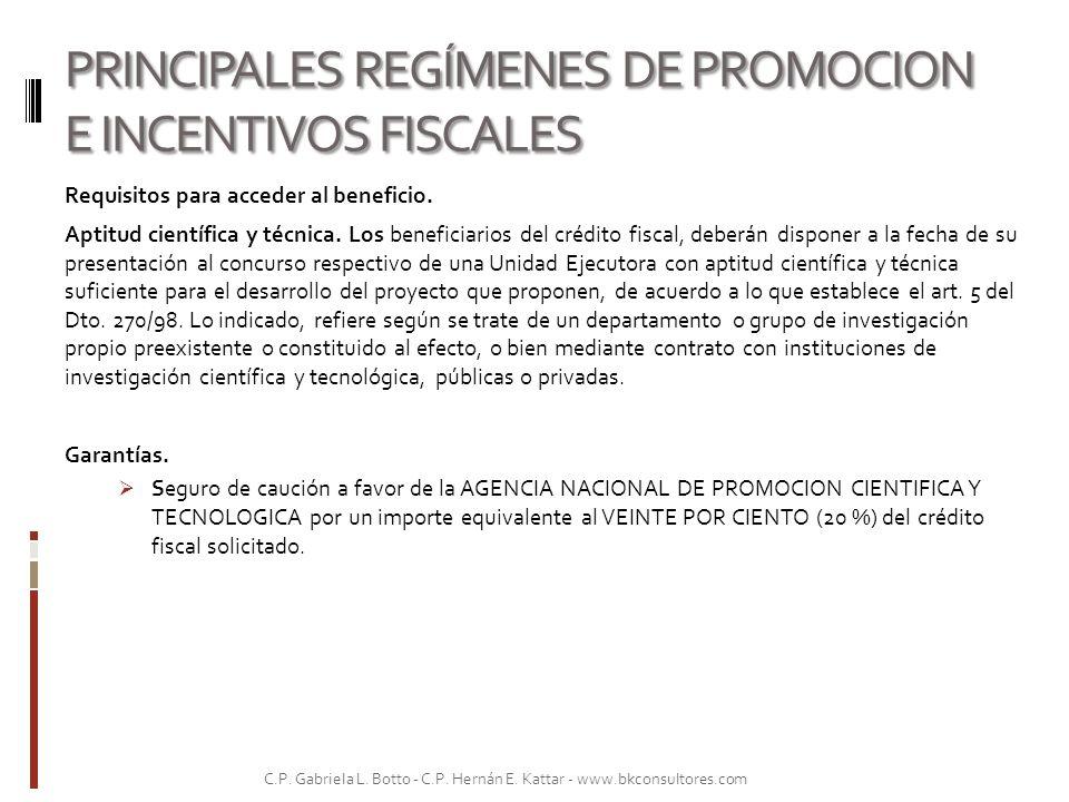 PRINCIPALES REGÍMENES DE PROMOCION E INCENTIVOS FISCALES Requisitos para acceder al beneficio. Aptitud científica y técnica. Los beneficiarios del cré