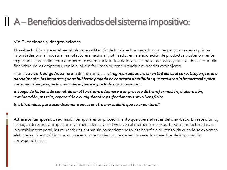 B – Beneficios derivados de regímenes aduaneros: aranceles y reintegros.