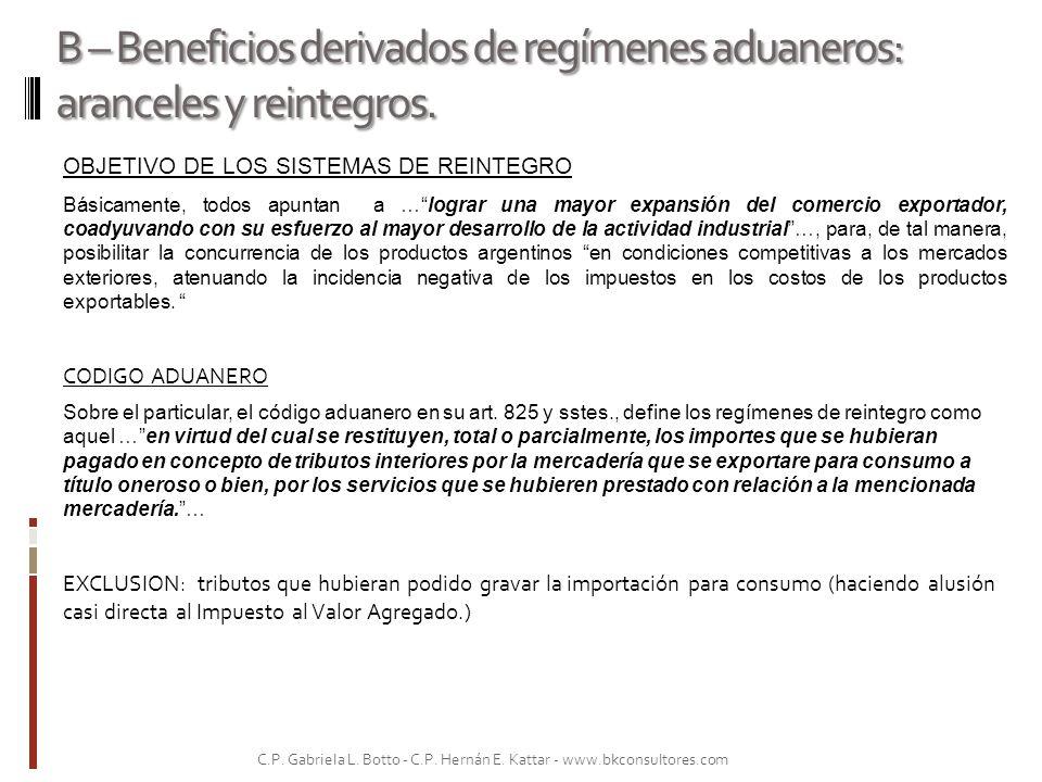 B – Beneficios derivados de regímenes aduaneros: aranceles y reintegros. OBJETIVO DE LOS SISTEMAS DE REINTEGRO Básicamente, todos apuntan a …lograr un