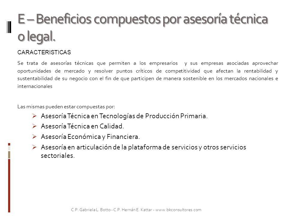 E – Beneficios compuestos por asesoría técnica o legal. CARACTERISTICAS Se trata de asesorías técnicas que permiten a los empresarios y sus empresas a