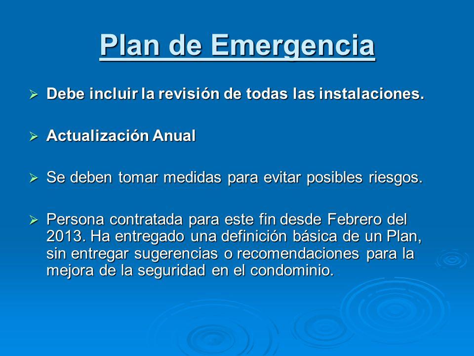 Plan de Emergencia Debe incluir la revisión de todas las instalaciones. Debe incluir la revisión de todas las instalaciones. Actualización Anual Actua