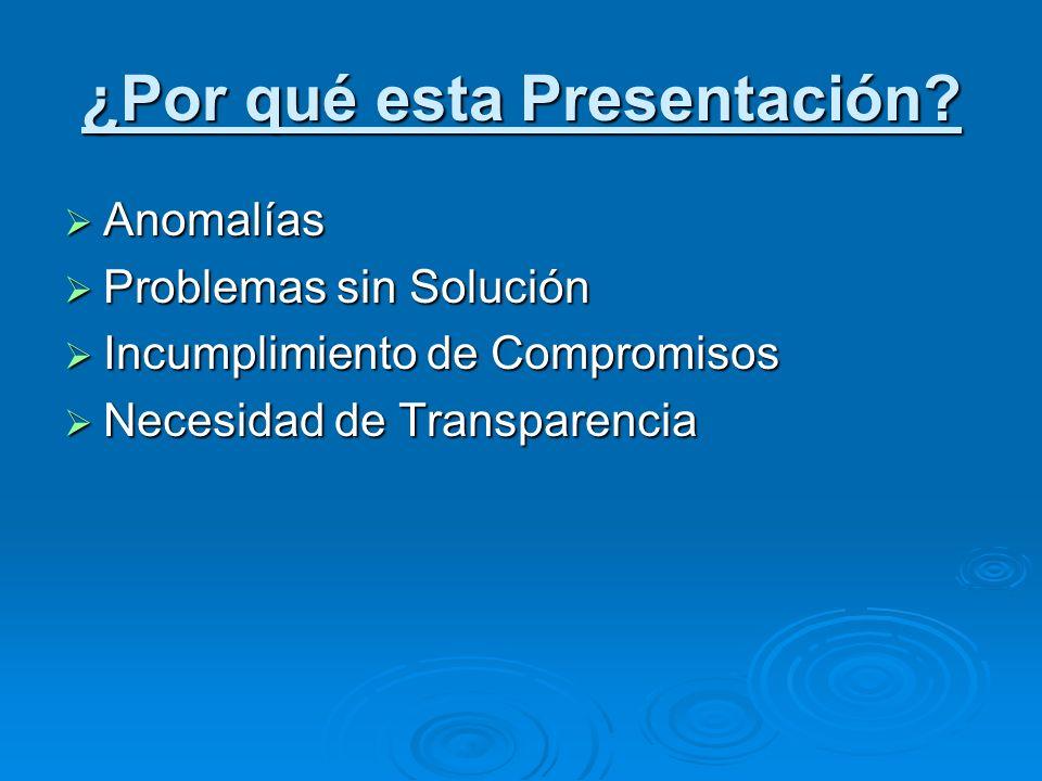 ¿Por qué esta Presentación? Anomalías Anomalías Problemas sin Solución Problemas sin Solución Incumplimiento de Compromisos Incumplimiento de Compromi