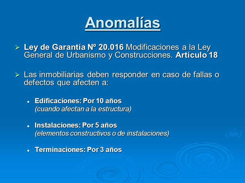 Anomalías Ley de Garantía Nº 20.016 Modificaciones a la Ley General de Urbanismo y Construcciones. Artículo 18 Ley de Garantía Nº 20.016 Modificacione