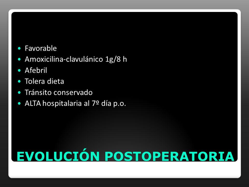 EVOLUCIÓN POSTOPERATORIA Favorable Amoxicilina-clavulánico 1g/8 h Afebril Tolera dieta Tránsito conservado ALTA hospitalaria al 7º día p.o.