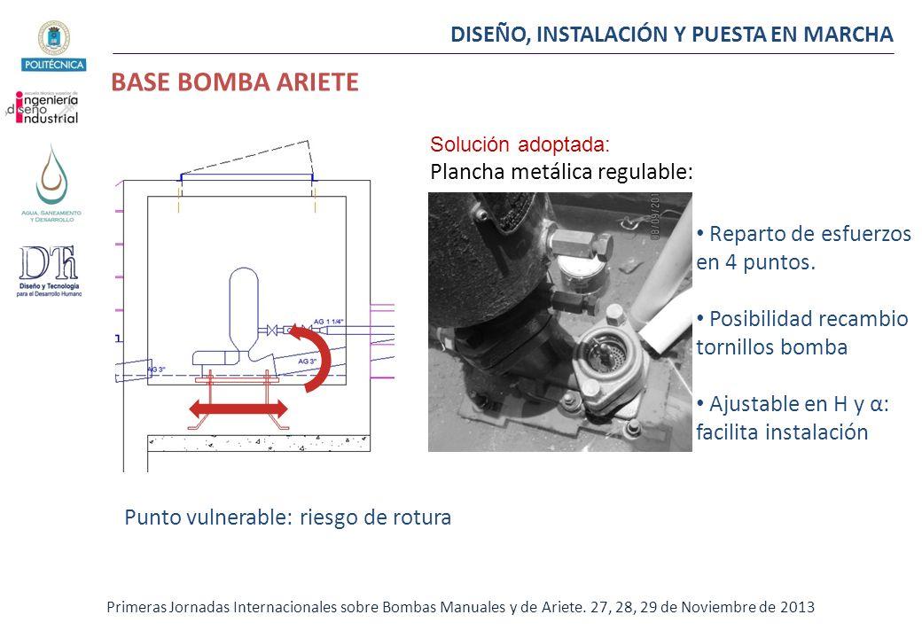 DISEÑO, INSTALACIÓN Y PUESTA EN MARCHA BASE BOMBA ARIETE Primeras Jornadas Internacionales sobre Bombas Manuales y de Ariete. 27, 28, 29 de Noviembre
