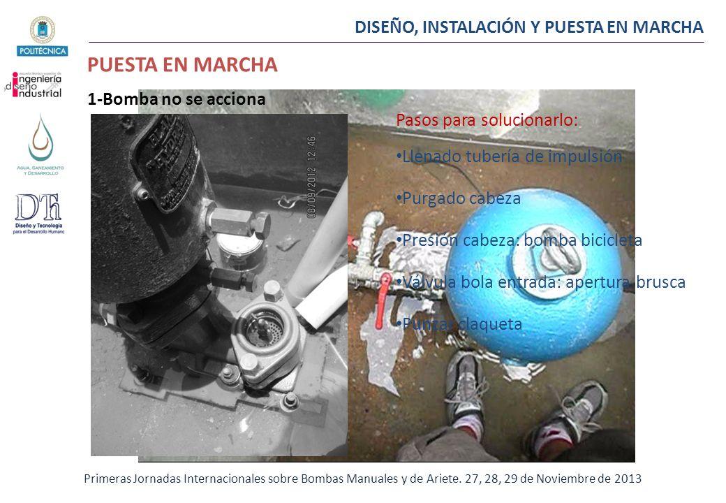 DISEÑO, INSTALACIÓN Y PUESTA EN MARCHA PUESTA EN MARCHA Primeras Jornadas Internacionales sobre Bombas Manuales y de Ariete. 27, 28, 29 de Noviembre d