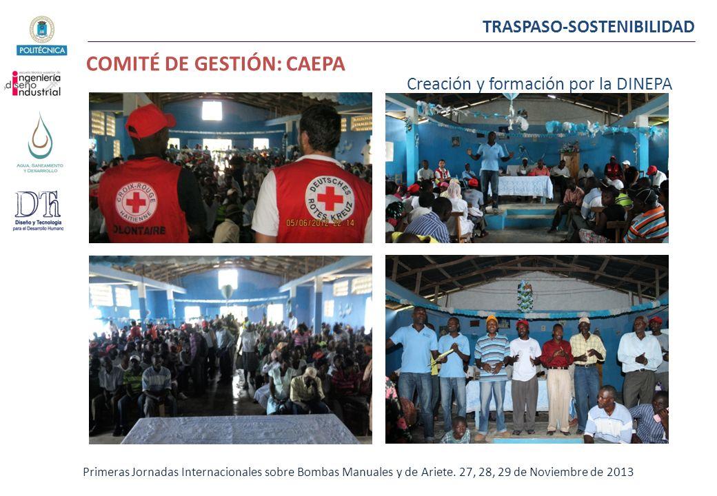 TRASPASO-SOSTENIBILIDAD COMITÉ DE GESTIÓN: CAEPA Primeras Jornadas Internacionales sobre Bombas Manuales y de Ariete. 27, 28, 29 de Noviembre de 2013