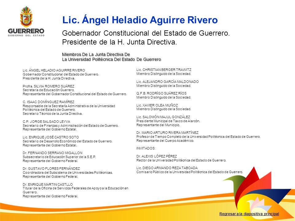Miembros De La Junta Directiva De La Universidad Politécnica Del Estado De Guerrero Regresar a la diapositiva principal Lic. Ángel Heladio Aguirre Riv