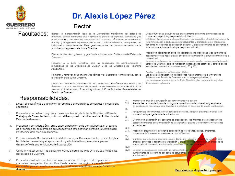 Facultades: Responsabilidades: Regresar a la diapositiva principal I.Desarrollar las líneas de actuación aprobadas por los órganos colegiados y ejecut
