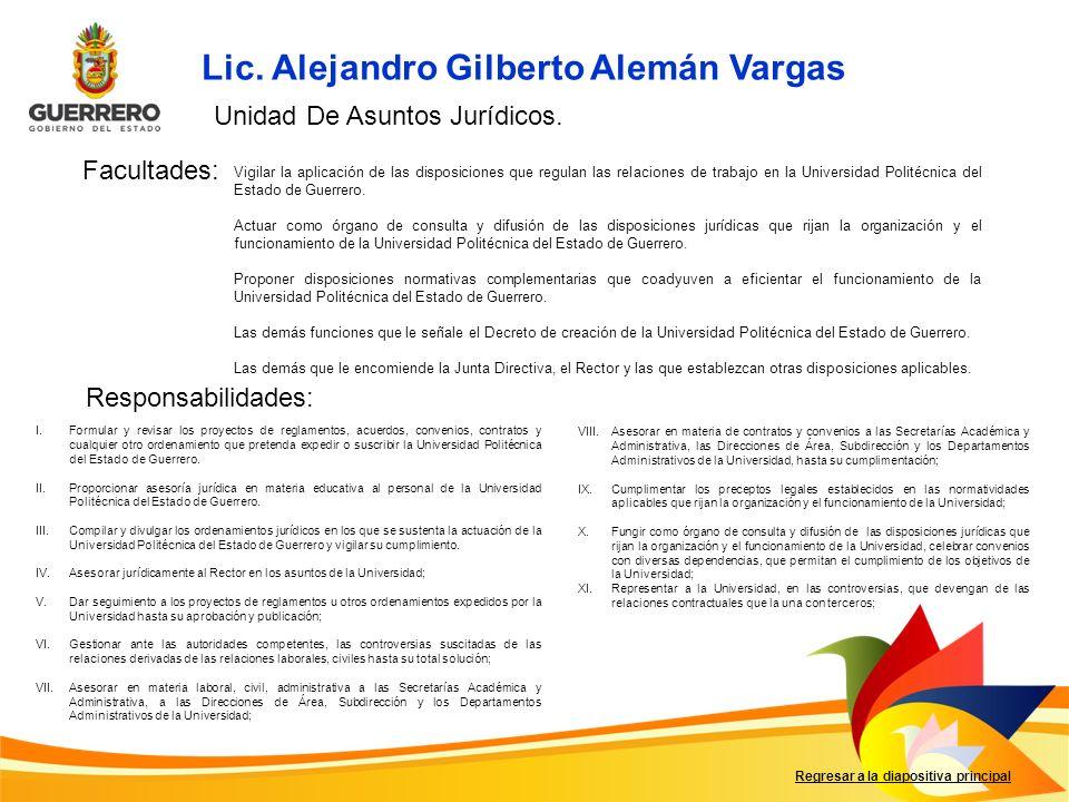 Facultades: Responsabilidades: Regresar a la diapositiva principal I.Formular y revisar los proyectos de reglamentos, acuerdos, convenios, contratos y