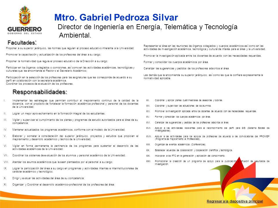 Facultades : Responsabilidades: Regresar a la diapositiva principal I.Implementar las estrategias que permitan contribuir al mejoramiento continuo de