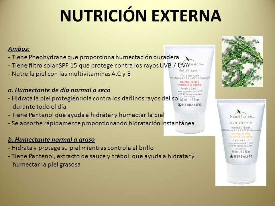 NUTRICIÓN EXTERNA Ambos: - Tiene Pheohydrane que proporciona humectación duradera - Tiene filtro solar SPF 15 que protege contra los rayos UVB / UVA -
