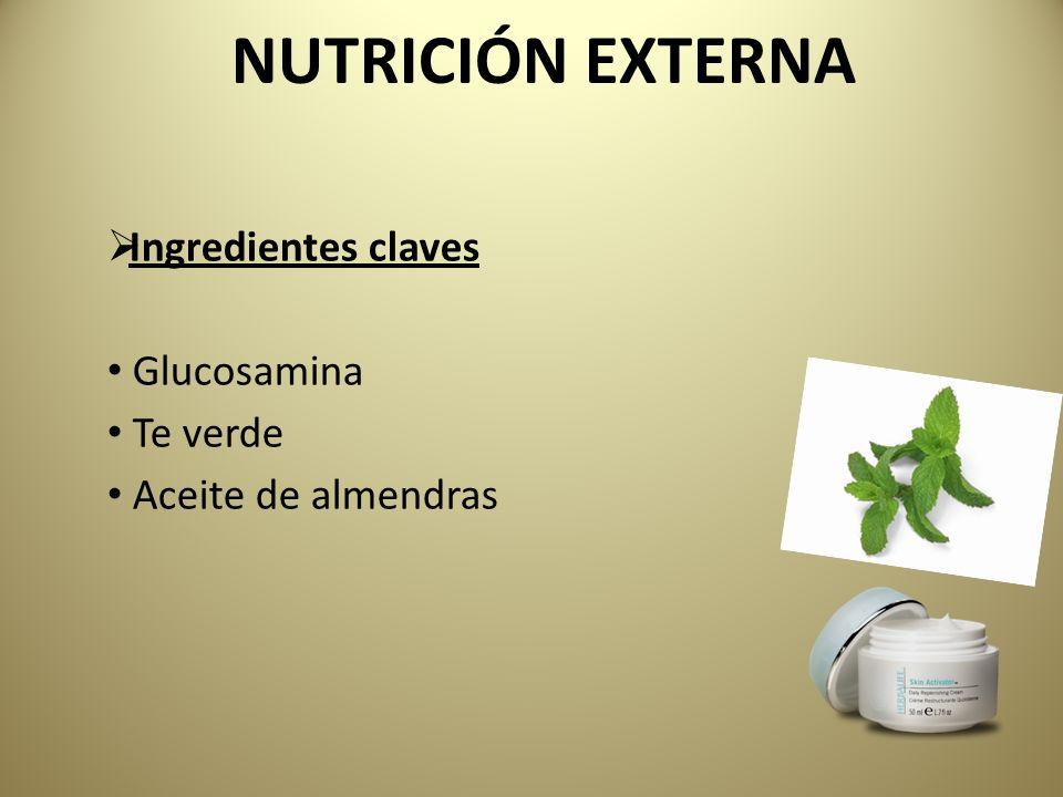 Ingredientes claves Glucosamina Te verde Aceite de almendras NUTRICIÓN EXTERNA