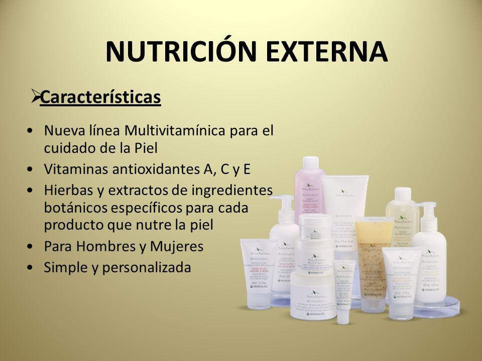 Nueva línea Multivitamínica para el cuidado de la Piel Vitaminas antioxidantes A, C y E Hierbas y extractos de ingredientes botánicos específicos para