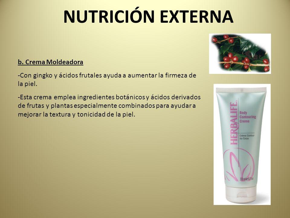 b. Crema Moldeadora -Con gingko y ácidos frutales ayuda a aumentar la firmeza de la piel. -Esta crema emplea ingredientes botánicos y ácidos derivados