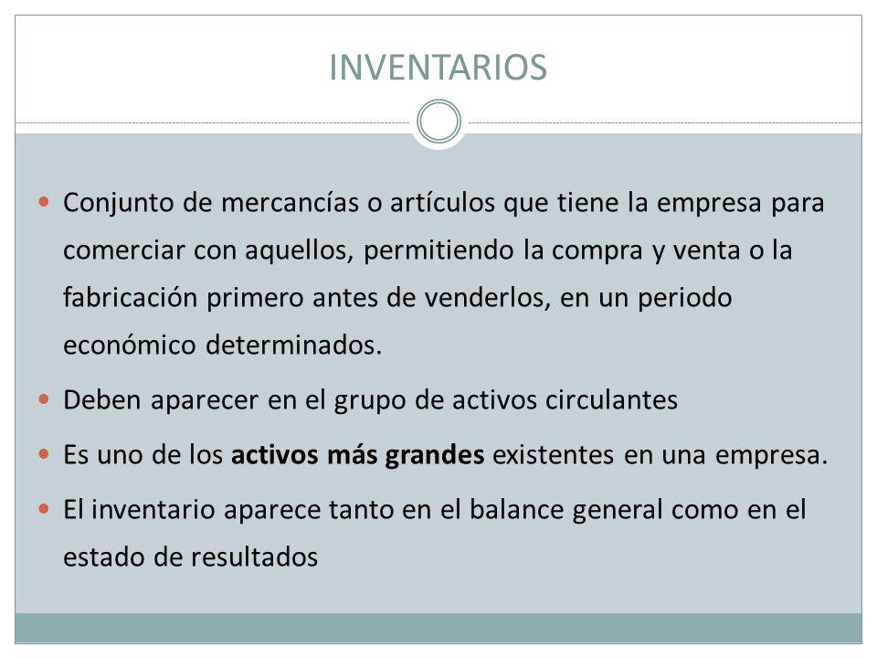 INVENTARIOS Conjunto de mercancías o artículos que tiene la empresa para comerciar con aquellos, permitiendo la compra y venta o la fabricación primer