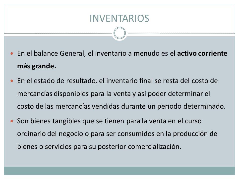 INVENTARIOS En el balance General, el inventario a menudo es el activo corriente más grande. En el estado de resultado, el inventario final se resta d