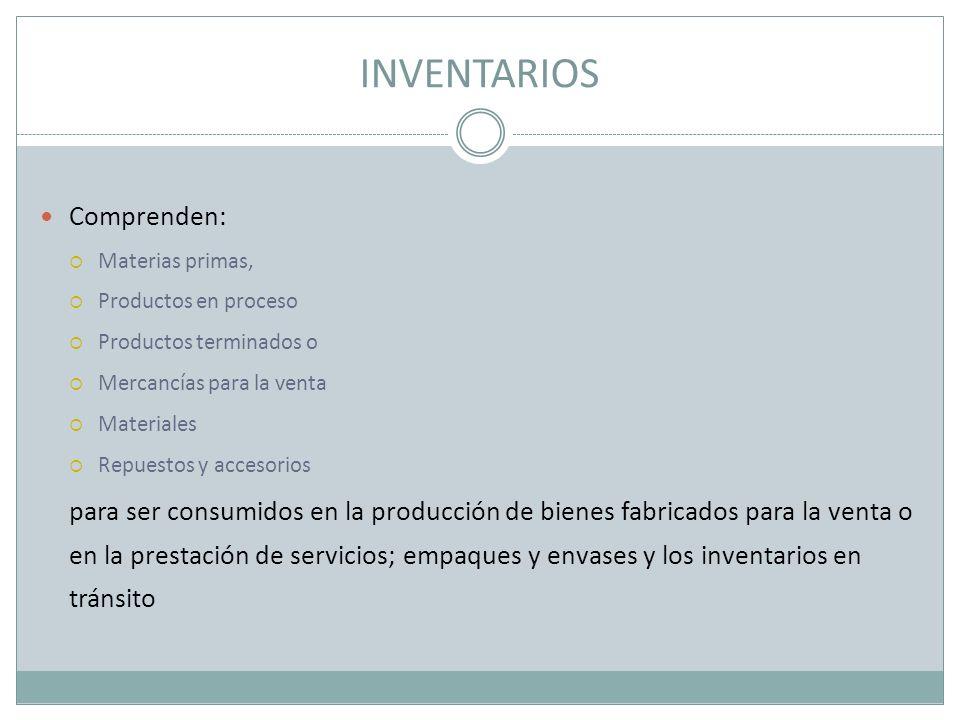 INVENTARIOS Comprenden: Materias primas, Productos en proceso Productos terminados o Mercancías para la venta Materiales Repuestos y accesorios para s