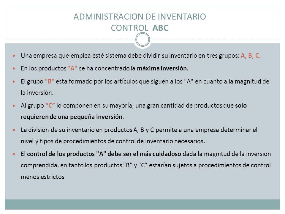 ADMINISTRACION DE INVENTARIO CONTROL ABC Una empresa que emplea esté sistema debe dividir su inventario en tres grupos: A, B, C. En los productos
